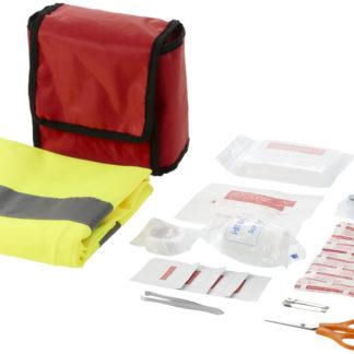 Första hjälpen-set i 18 delar och professionell säkerhetsväst