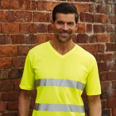 A_Reflexvästar med tryck FLUO SUPER LIGHT V-NECK T-SHIRT