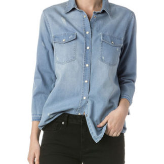 A_Skjortor med tryck LADIES' LONG SLEEVE DENIM SHIRT