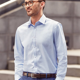 A_Skjortor med tryck MEN'S LS HERRINGBONE SHIRT