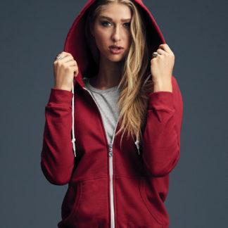 A_Sweatshirts med tryck WOMEN'S FASHION FULL-ZIP HOODED SWEAT