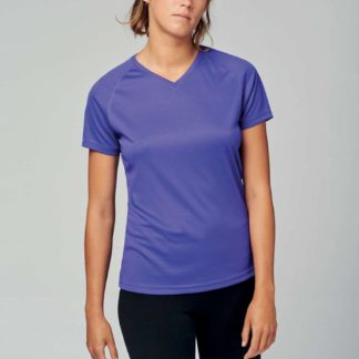 A_T-shirts med tryck LADIES' V-NECK SHORT SLEEVE SPORTS T-SHIRT