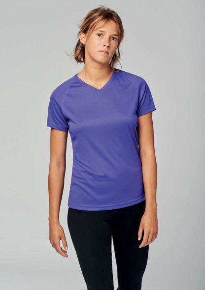 A_T-shirts med tryck LADIES' V-NECK SHORT SLEEVE SPORTS T-SHIRT