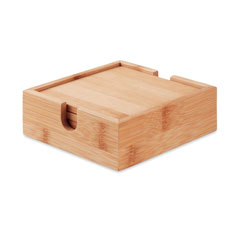4 bamboo coasters and holder