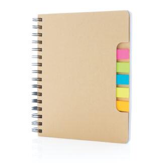 A5 Kraft spiralbunden anteckningsbok med sticky notes