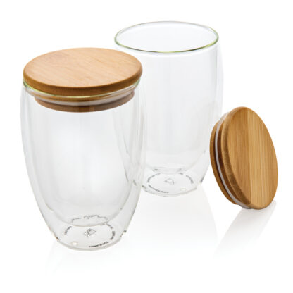 Dubbelväggigt borosilikatglas med bambulock