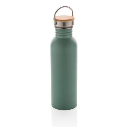 Modern stainless steel flaska med bambulock