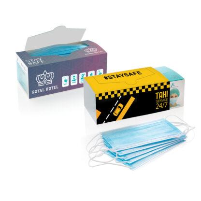 Munskydd 50-Pack. 3-lagers kirurgiskt munskydd EN14683:2019